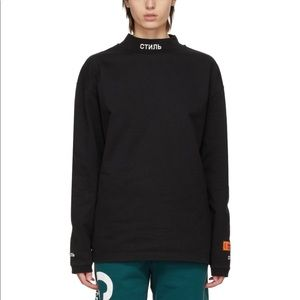 Heron Preston Black Mock Neck Long Sleeve T-Shirt